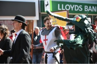 Picture: Alex Cantrill-Jones The annual St George's Day celebrations began with a procession beginning at East Street and ending in the Market Place. Other activities were available for the public to enjoy such as archery and holding a bird of Prey.